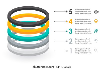 Infographic label design with icons and 5 options leves or steps. Infographics for business concept. Can be used for presentations banner, workflow layout, process diagram, flow chart, info graph