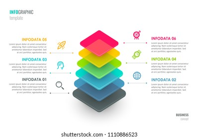 Infographic label design with icons and 6 options leves or steps. Infographics for business concept. Can be used for presentations banner, workflow layout, process diagram, flow chart, info graph