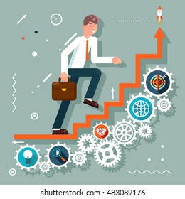 Infographic Ladder Stairs Businessman Goes Success Symbol Gears icons Flat Design Vector Illustration