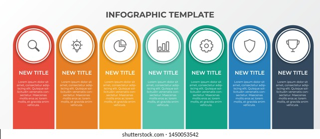 infographic list template element with 7 points and icons, use for describing or showing workflow, task, timeline, process, information on slide presentation, poster, brochure, banner, etc.