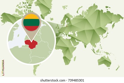 Infographic for Lithuania, detailed map of Lithuania with flag. Vector Info graphic green map.