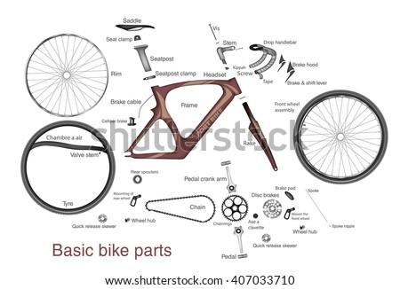 infographic main bike parts names のベクター画像素材 ロイヤリティ