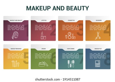 Infographic Makeup And Beauty template. Icons in different colors. Include Makeup And Beauty, Lipstick, Cosmetics, Scissors and others.