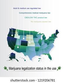 infographic marijuana legalization status in the us,map