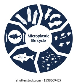 Infographic of micro plastic travel. Impact of microplastic in marine ecosystem concept. Ocean and food pollution ecology problem. Health risk of micro plastic pieces in food. Micro plastic cycle