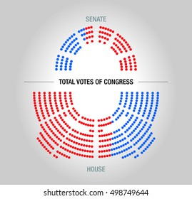 Infographic model of USA congressional votes. Editable Sample.