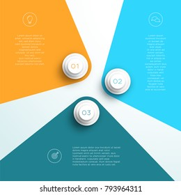 Infographic Number 1, 2, 3 Flat Page Divide Layout