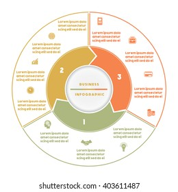 Infographic numbered three position Area chart ring chart pie chart