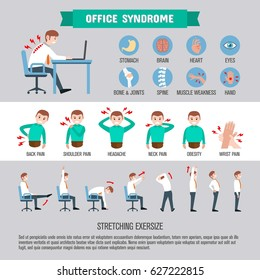 Infographic office syndrome healthcare infographic Template Design. health concept. Incorrect posture and office. vector flat icons cartoon design.
