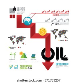 Infographic oil business of the world arrow concept with icons vector