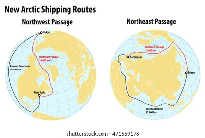Infographic on arctic shipping (Northwest Passage and Northeast Passage) routes that became usable due to climate change. Given are also the distances compared to conventional shipping routes.