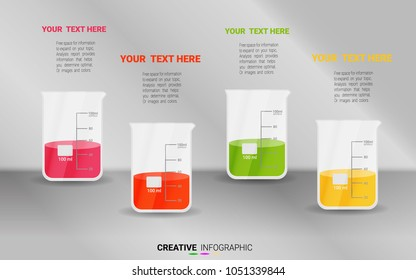 infographic on Beaker, medicine, chemistry  in Beaker experiments, test tube. Abstract infographics. can be used for infographics, Vector Illustration, Creative concept for infographic, steps or proc