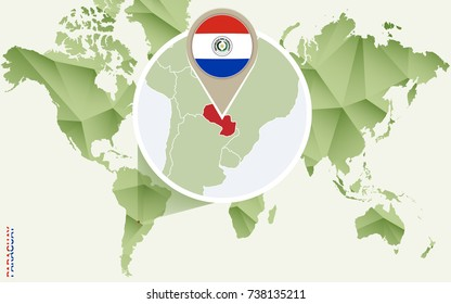 Infographic for Paraguay, detailed map of Paraguay with flag. Vector Info graphic green map.