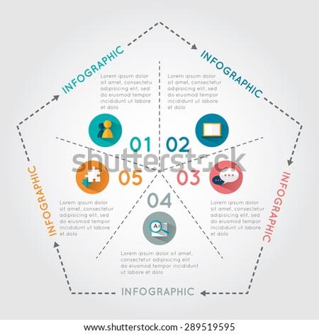 infographic pentagon template diagram graph presentation stock
