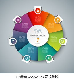 Infographic pie chart circle template with 7 options. Can be used as cycle diagram, graph, web banner, workflow layout