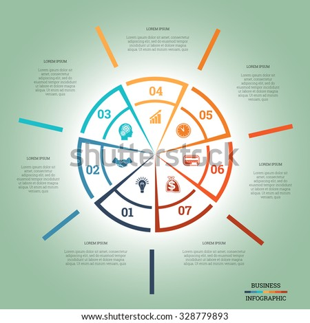 infographic pie chart template colourful circle stock vector