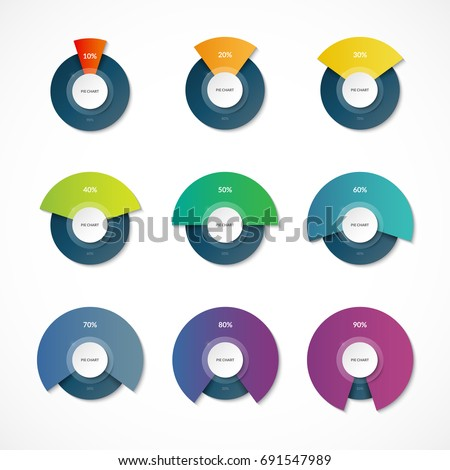 infographic pie chart templates share 10 stock vector royalty free