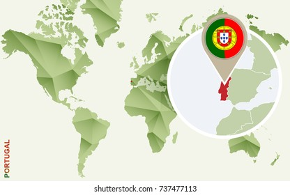 Infographic for Portugal, detailed map of Portugal with flag. Vector Info graphic green map.