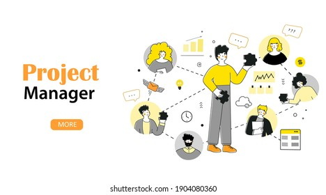 Infographic project manager for web design. Flat style vector. Distance communication.