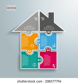 Infographic with rectangle puzzle pieces on the grey background. Eps 10 vector file.