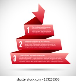 Infographic with red spiral pyramid ribbons for business