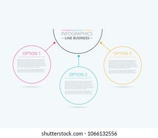 Infographic report business template with 3 options. Vector illustration.
