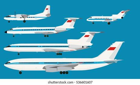 Infographic retro USSR civil planes series