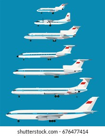 Infographic retro USSR civil planes series. Real Relative Sizes