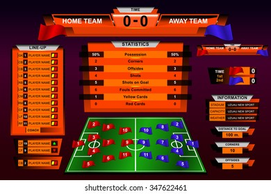 Infographic Scoreboard Broadcast Graphic and Lower Thirds Template for soccer and football, vector illustration