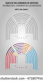Infographic of Seats in the Congress of Deputies / Infografía Escaños en el Congreso de los Diputados. Vector