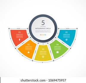 Infographic semi circle in thin line flat style. Business presentation template with 5 options, parts, steps. Can be used for cycle diagram, graph, round chart.