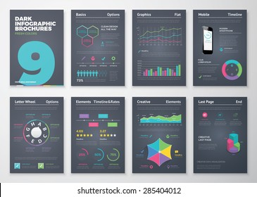 Infographic set with colorful business vector elements. Data visualization and statistic elements for print, website, corporate reports and graphic projects.