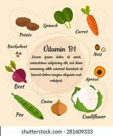 Infographic set of vitamin B1 and useful products: spinach, carrot, nut, apricot, cauliflower, onion, pea, beet, potato. Healthy lifestyle and diet vector concept.