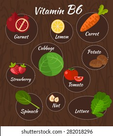 Infographic set of vitamin B6 and useful products: tomato, cabbage, carrot, nut, spinach, garnet, lemon, lettuce, strawberry, potato. Healthy lifestyle and diet vector concept.