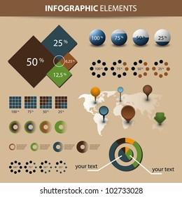 Infographic Set. World Map and Information Graphics