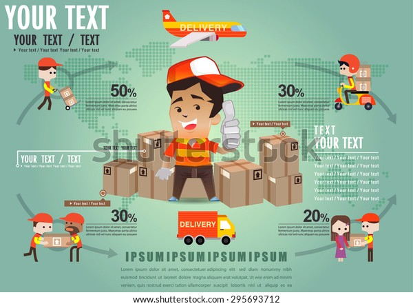 Infographic Shipping On World Template Design เวกเตอร์สต็อก