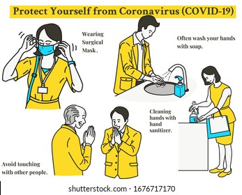 Infographic of simple ways to protect yourself from Coronavirus or covid-19 spreading. Wearing surgical face mask, cleaning hands, use cleansing gel, avoid touching. Outline, thin line art, linear.