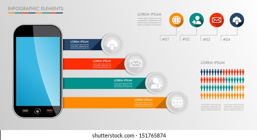 Infographic smart phone design icons text and values concept background illustration. Vector file layered for easy editing.