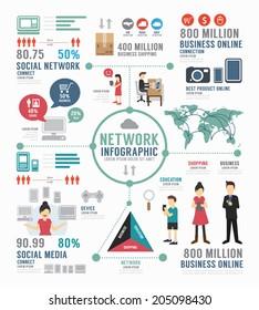 Infographic social network template design . concept vector illustration