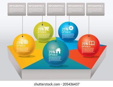info-graphic - sphere style - percentage, pentagon