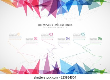 Infographic startup milestones timeline vector template.