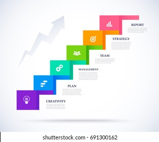 Infographic step up of business successful concept. vector illustration.