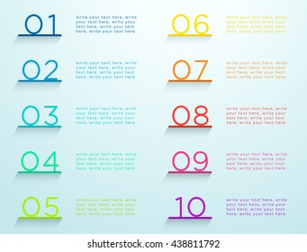 Infographic Steps On Shelves Numbers 1 to 10