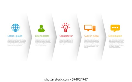 Infographic style colored menu or arrows option, vector on white background