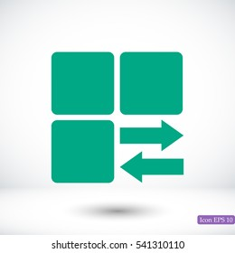 Infographic styled vector cube with arrow, vector best flat icon, EPS