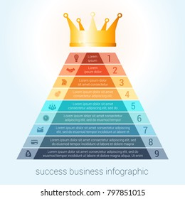 Infographic success business modern template for 9 steps, processes, options, parts, presentations.