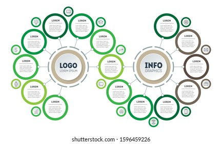 Infographic of technology or education process with 15 parts. Template of info chart or diagram. Horizontal eco Business presentation concept with Fifteen options.