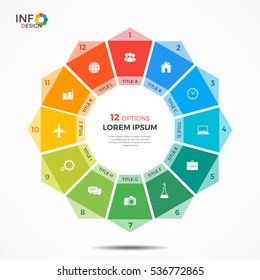 Infographic template with 12 options circle chart.