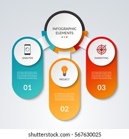 Infographic template with 3 option circles and columns. Business concept that can be used as a table, chart, diagram, graph, workflow layout for web, report, presentation. Vector banner