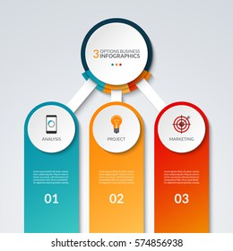 Infographic template with 3 options. Business concept that can be used as a chart, diagram, graph, table, workflow layout for web, report, presentation. Vector banner